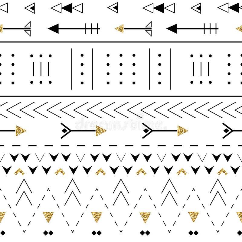 Άνευ ραφής σχέδιο Boho με τα διακοσμητικά βέλη Η εθνική γεωμετρική τυπωμένη ύλη με χρυσό ακτινοβολεί σύσταση διανυσματική απεικόνιση