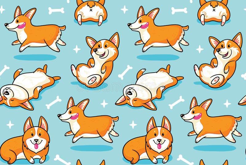 Άνευ ραφής σχέδιο Corgi Αστείο υπόβαθρο με τα σκυλιά κινούμενων σχεδίων διανυσματική απεικόνιση