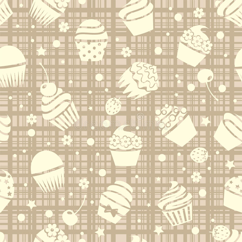 Άνευ ραφής σχέδιο Cupcake με τα cupcakes διανυσματική απεικόνιση