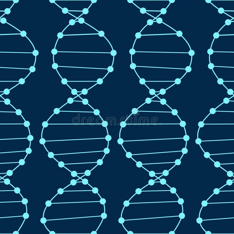 Άνευ ραφής σχέδιο DNA Μπλε διανυσματικό υπόβαθρο επιστήμης DNA ελεύθερη απεικόνιση δικαιώματος