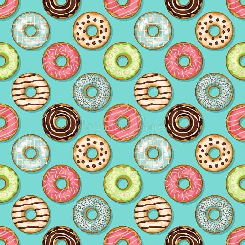Άνευ ραφής σχέδιο Donuts στο μπλε υπόβαθρο απεικόνιση αποθεμάτων