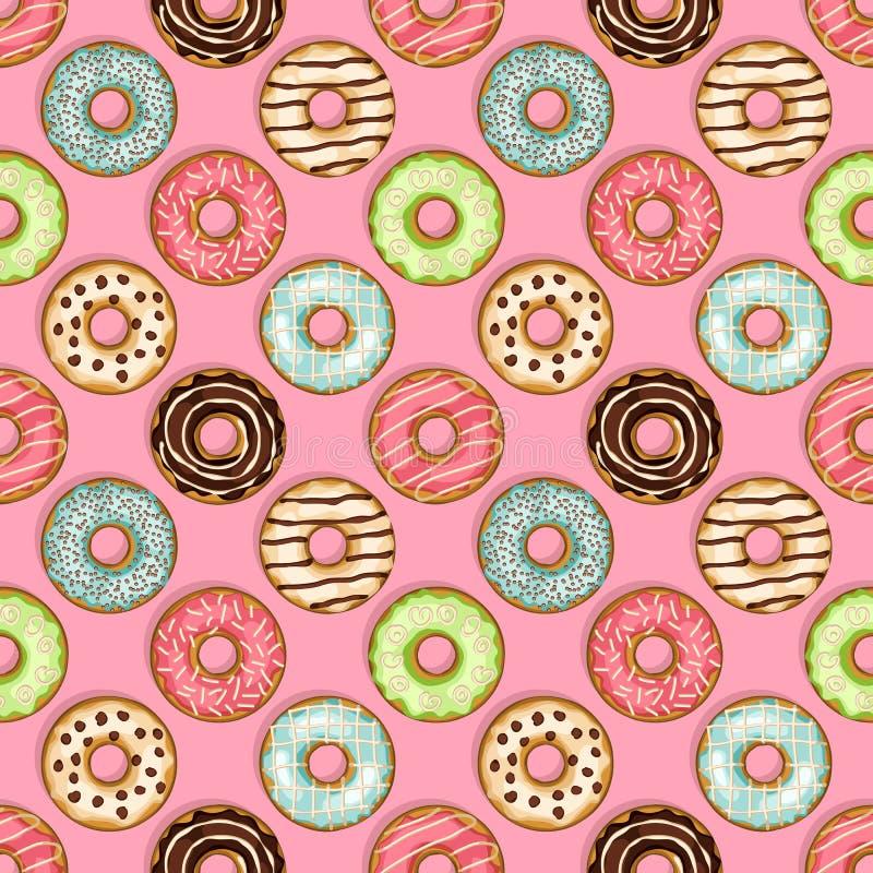 Άνευ ραφής σχέδιο Donuts στο ρόδινο υπόβαθρο ελεύθερη απεικόνιση δικαιώματος