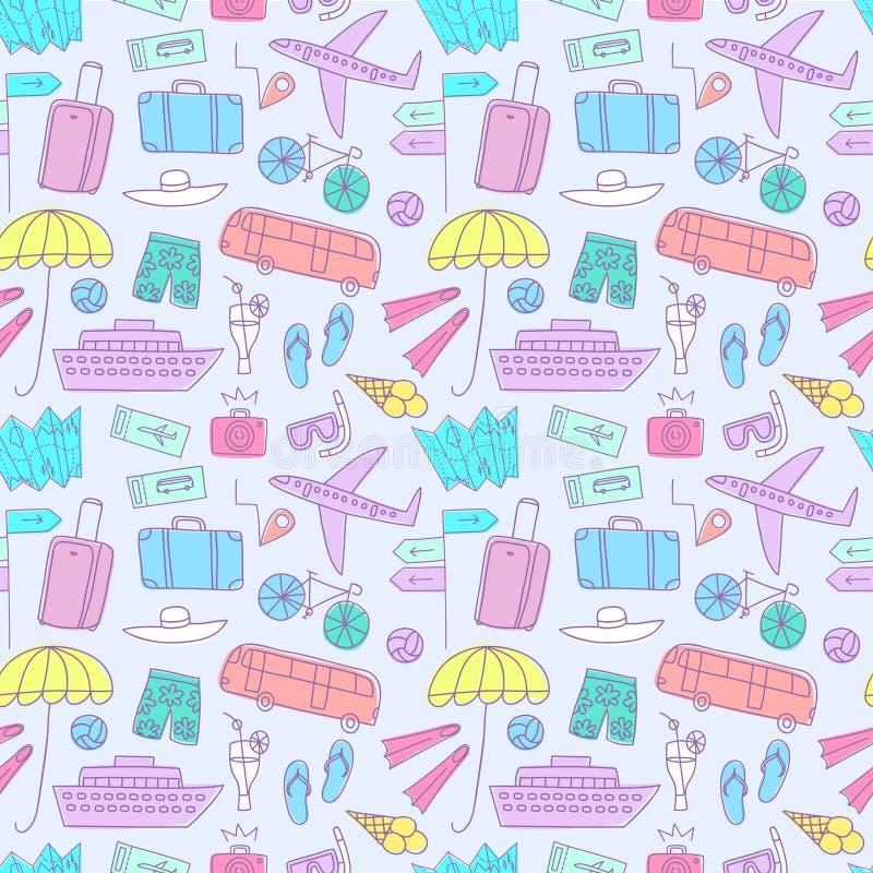 Άνευ ραφής σχέδιο doodle θερινών διακοπών ζωηρόχρωμο ελεύθερη απεικόνιση δικαιώματος