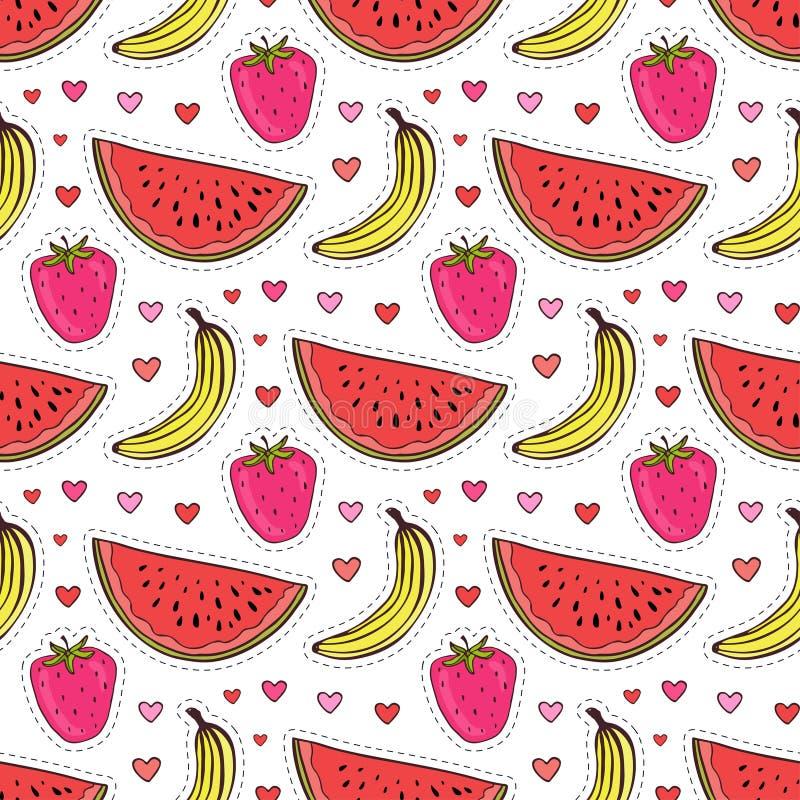 Άνευ ραφής σχέδιο Doodle με τα φρούτα Διανυσματικό υπόβαθρο μπανανών, φραουλών και καρπουζιών Τυλίγοντας έγγραφο ή κλωστοϋφαντουρ διανυσματική απεικόνιση