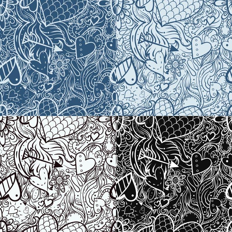 Άνευ ραφής σχέδιο doodle με την καρδιά και τα βέλη ελεύθερη απεικόνιση δικαιώματος