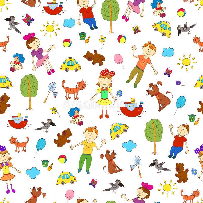 Άνευ ραφής σχέδιο Doodle της ζωής του χαριτωμένου παιδιού συμπεριλαμβανομένων των κατοικίδιων ζώων διανυσματική απεικόνιση