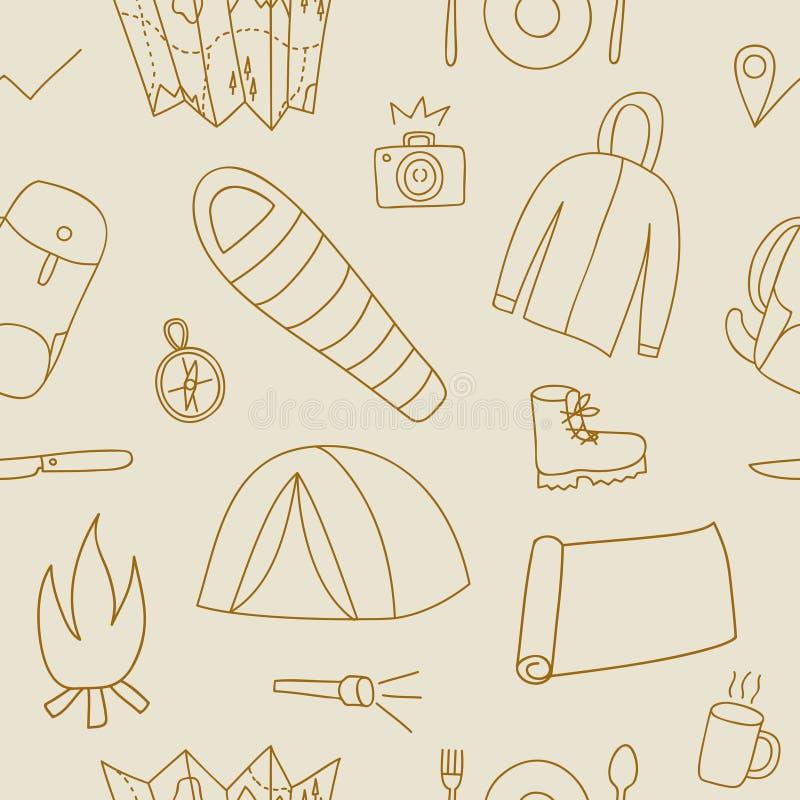 Άνευ ραφής σχέδιο Doodle της ουσίας πεζοπορίας και στρατοπέδευσης διανυσματική απεικόνιση