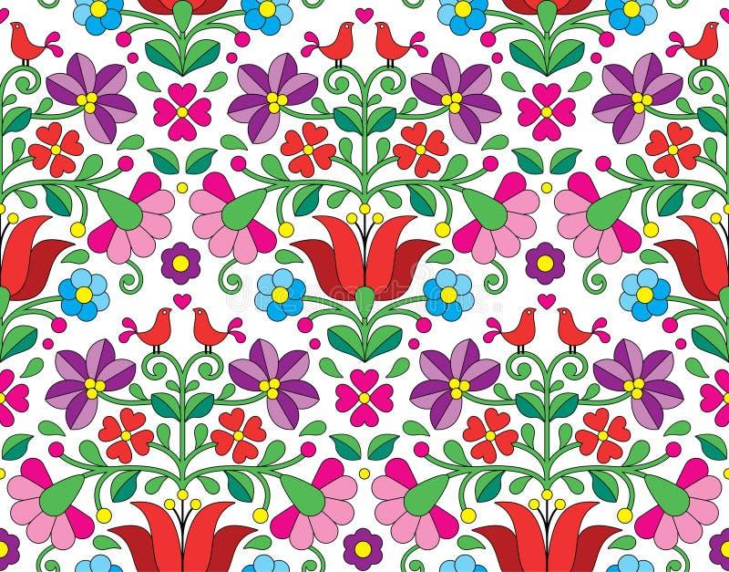 Άνευ ραφής σχέδιο emrboidery Kalocsai floral - ουγγρικό λαϊκό υπόβαθρο τέχνης ελεύθερη απεικόνιση δικαιώματος
