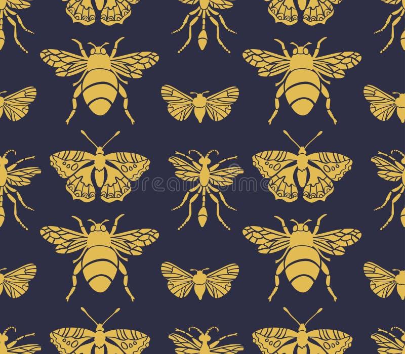 Άνευ ραφής σχέδιο Hipster με τα έντομα Αφηρημένο τριγωνικό ύφος ελεύθερη απεικόνιση δικαιώματος