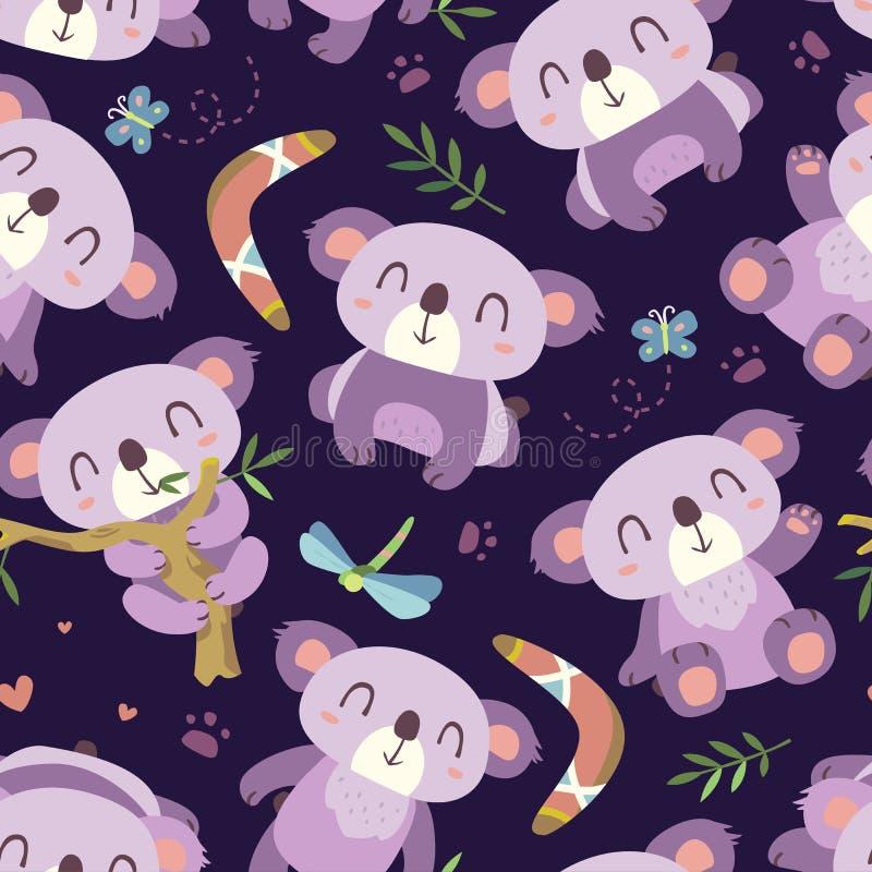 Άνευ ραφής σχέδιο koala ύφους κινούμενων σχεδίων διανυσματική απεικόνιση