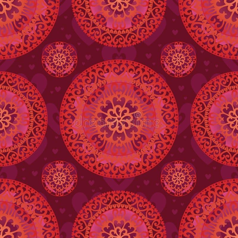 Άνευ ραφής σχέδιο mandala αγάπης απεικόνιση αποθεμάτων
