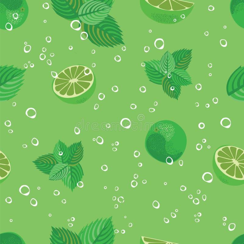 Άνευ ραφής σχέδιο Mojito Πράσινη μέντα Mojito και διανυσματικό υπόβαθρο ασβέστη απεικόνιση αποθεμάτων