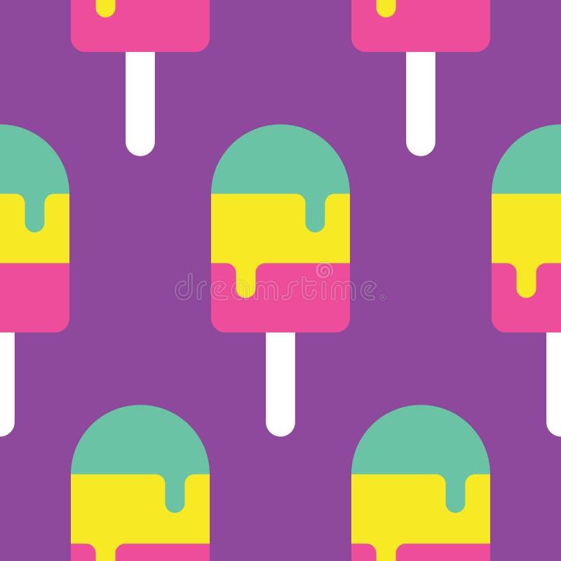 Άνευ ραφής σχέδιο Popsicle διανυσματική απεικόνιση
