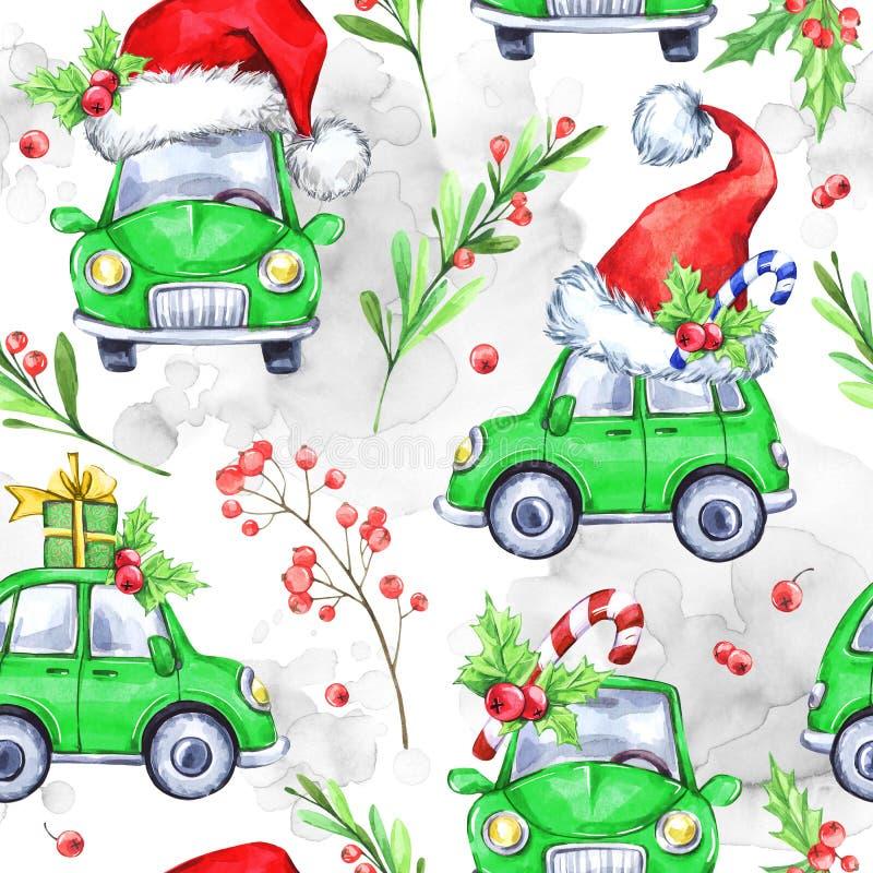 Άνευ ραφής σχέδιο Watercolor με τα αυτοκίνητα διακοπών κινούμενων σχεδίων ελεύθερη απεικόνιση δικαιώματος