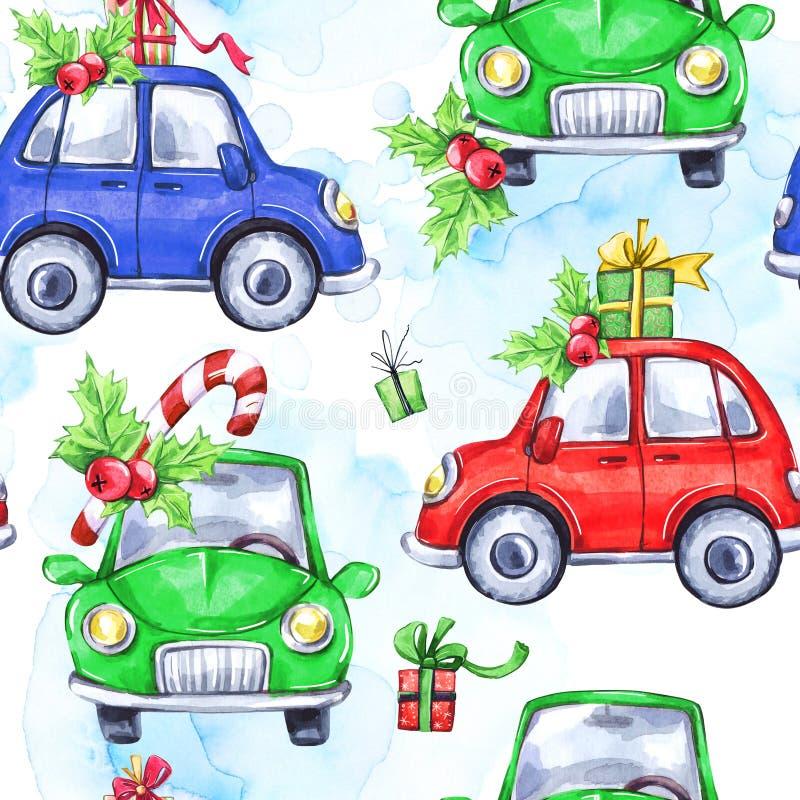 Άνευ ραφής σχέδιο Watercolor με τα αυτοκίνητα και τα δώρα διακοπών κινούμενων σχεδίων νέο έτος διαθέσιμος εικονογράφος απεικόνιση απεικόνιση αποθεμάτων