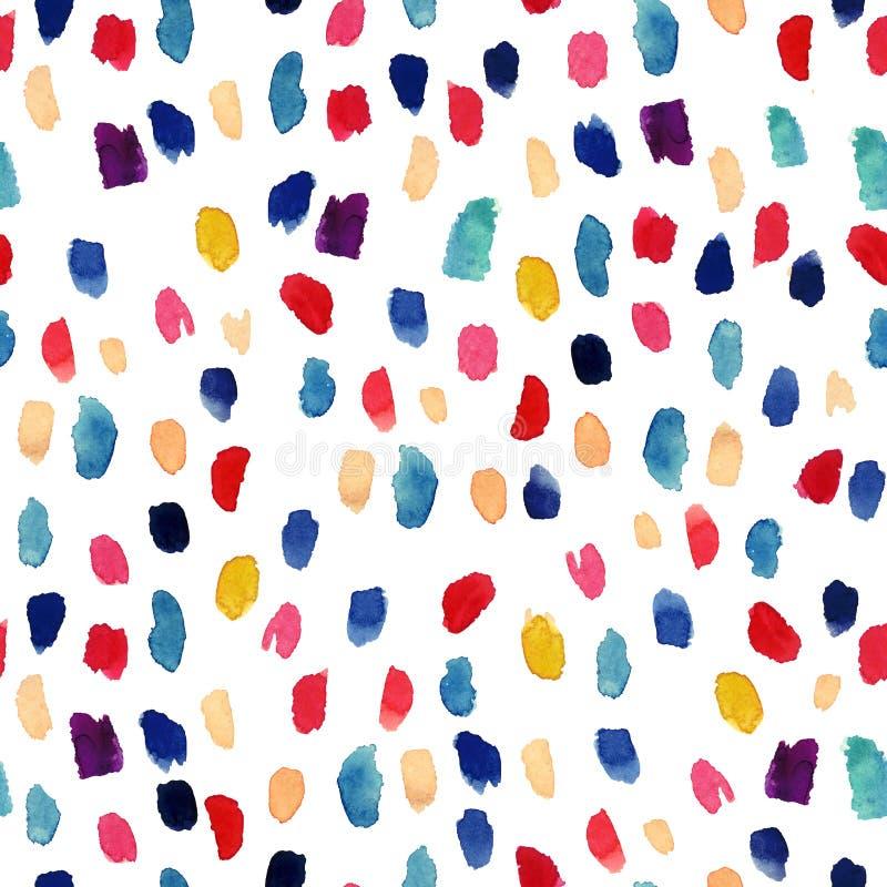 Άνευ ραφής σχέδιο Watercolor με τα ζωηρόχρωμα κτυπήματα βουρτσών διανυσματική απεικόνιση