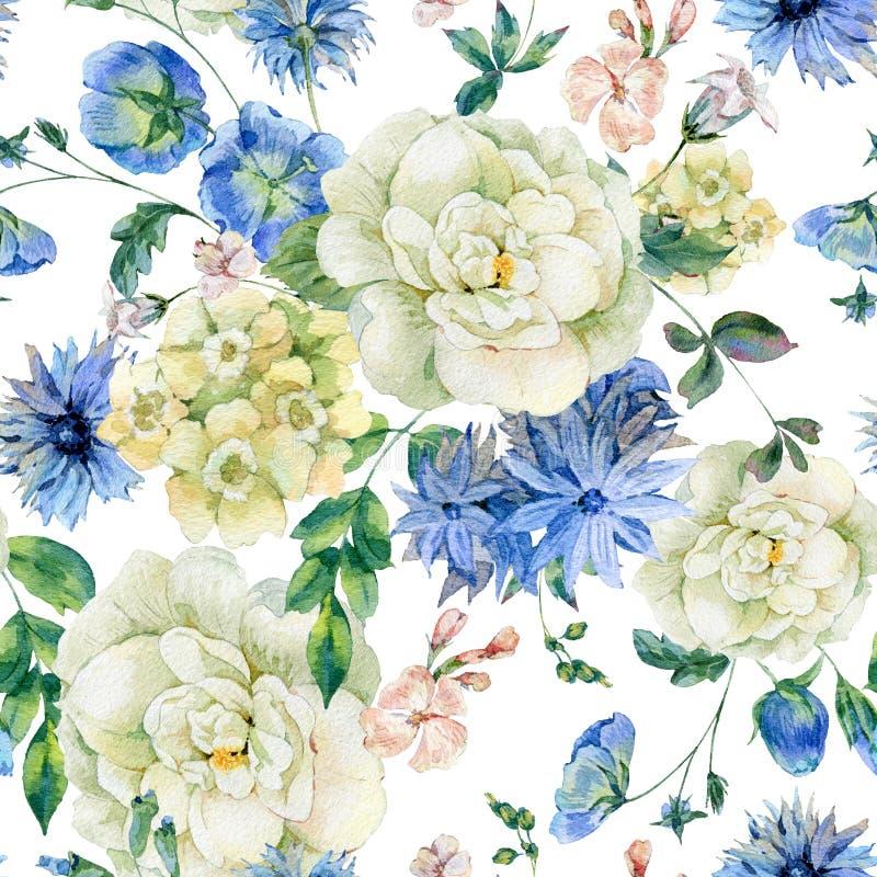 Άνευ ραφής σχέδιο Watercolor με τα μπλε ανθίζοντας άγρια λουλούδια ελεύθερη απεικόνιση δικαιώματος
