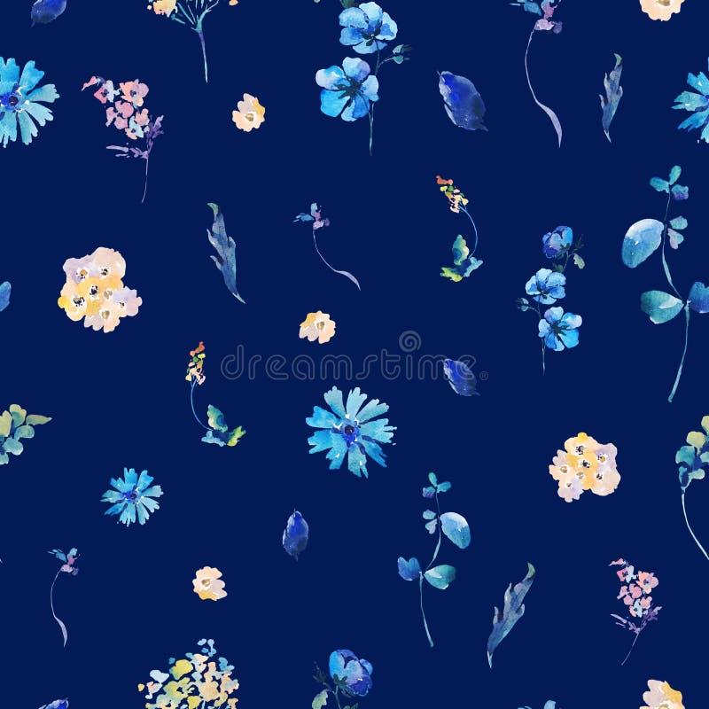 Άνευ ραφής σχέδιο Watercolor με τα μπλε λουλούδια απεικόνιση αποθεμάτων