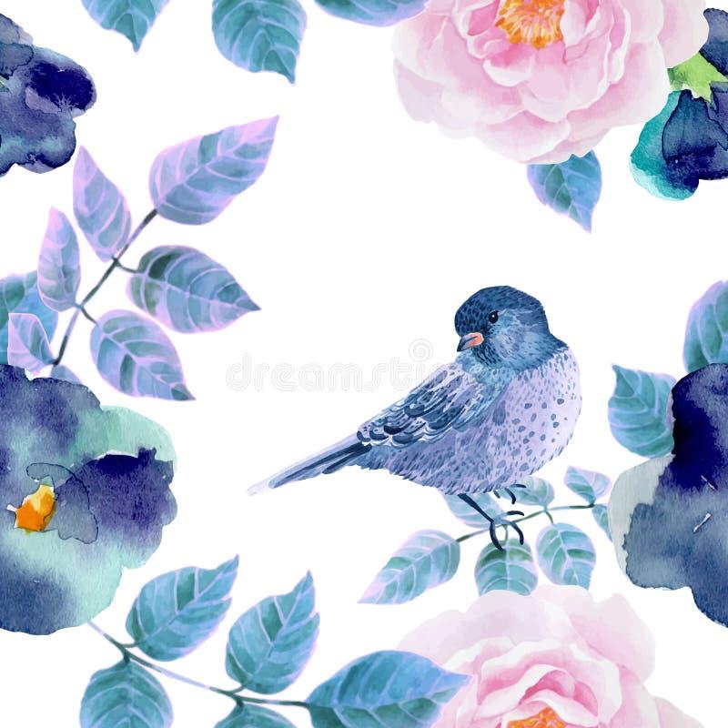 Άνευ ραφής σχέδιο Watercolor με τα λουλούδια και τα πουλιά ελεύθερη απεικόνιση δικαιώματος