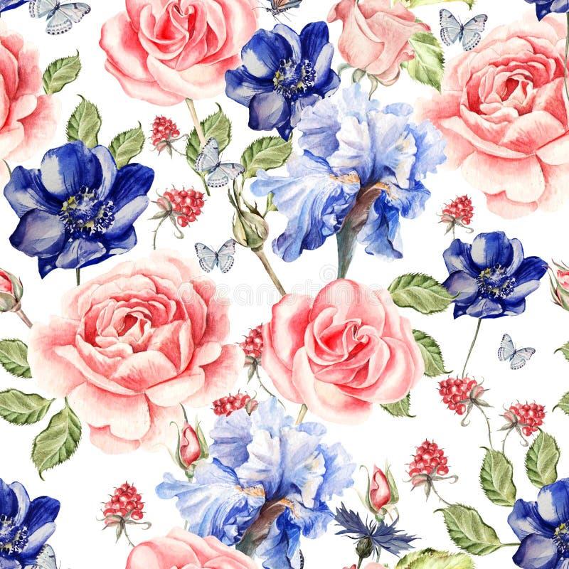 Άνευ ραφής σχέδιο watercolor με τα τριαντάφυλλα, anemones και τις ίριδες σμέουρο φύλλων διανυσματική απεικόνιση
