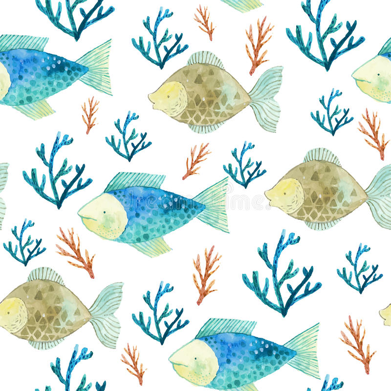 Άνευ ραφής σχέδιο Watercolor με τα ψάρια και τα φύκια στοκ φωτογραφία