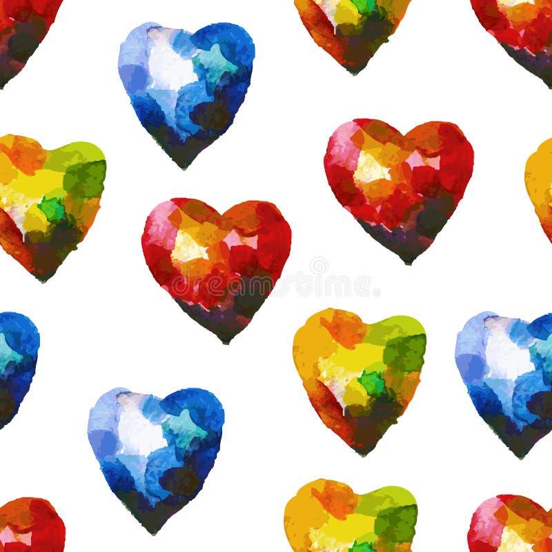 Άνευ ραφής σχέδιο watercolor με την καρδιά ελεύθερη απεικόνιση δικαιώματος
