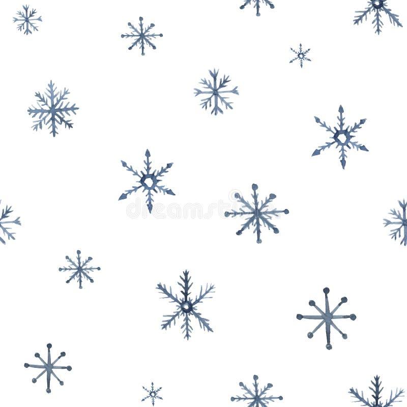 Άνευ ραφής σχέδιο Watercolor με snowflakes Χειμερινή απεικόνιση με τα στοιχεία κρυστάλλου πάγου που απομονώνονται στο άσπρο υπόβα ελεύθερη απεικόνιση δικαιώματος