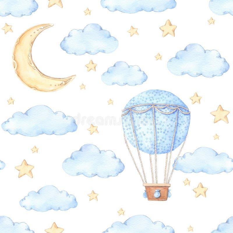 Άνευ ραφής σχέδιο Watercolor - μπαλόνι, φεγγάρι και αστέρια αέρα Ιδέες διανυσματική απεικόνιση
