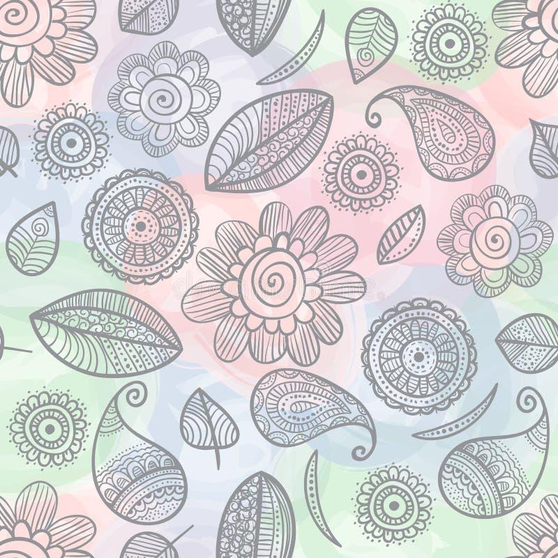 Άνευ ραφής σχέδιο watercolor λουλουδιών doodles ελεύθερη απεικόνιση δικαιώματος