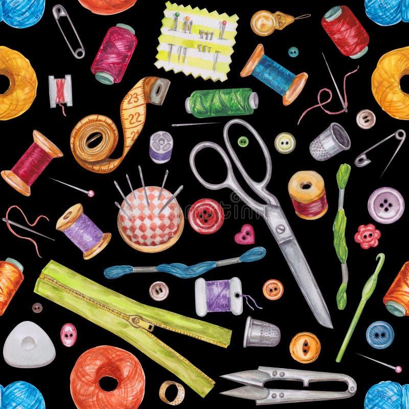 Άνευ ραφής σχέδιο watercolor των διάφορων ράβοντας εργαλείων ράβοντας δακτυλήθρα βελόνων εξαρτήσεων βαμβακιού απεικόνιση αποθεμάτων