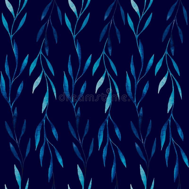 Άνευ ραφής σχέδιο Watercolor των μπλε φύλλων σε ένα σκούρο μπλε υπόβαθρο ελεύθερη απεικόνιση δικαιώματος