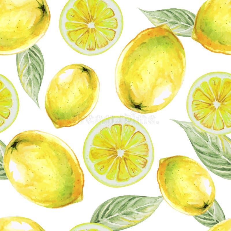 Άνευ ραφής σχέδιο Watercolor των φρούτων λεμονιών διανυσματική απεικόνιση