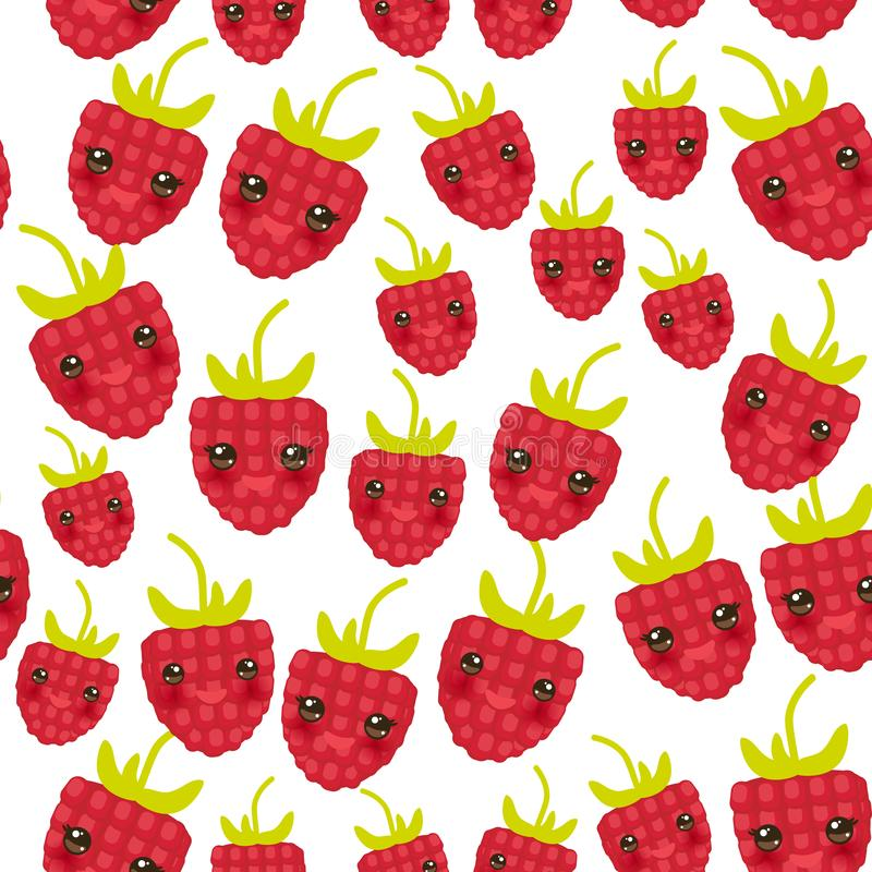 Άνευ ραφής σχεδίων κόκκινο ώριμο αστείο πρόσωπο kawaii μούρων σμέουρων φρέσκο juicy με τα μάτια που απομονώνεται στο άσπρο υπόβαθ ελεύθερη απεικόνιση δικαιώματος