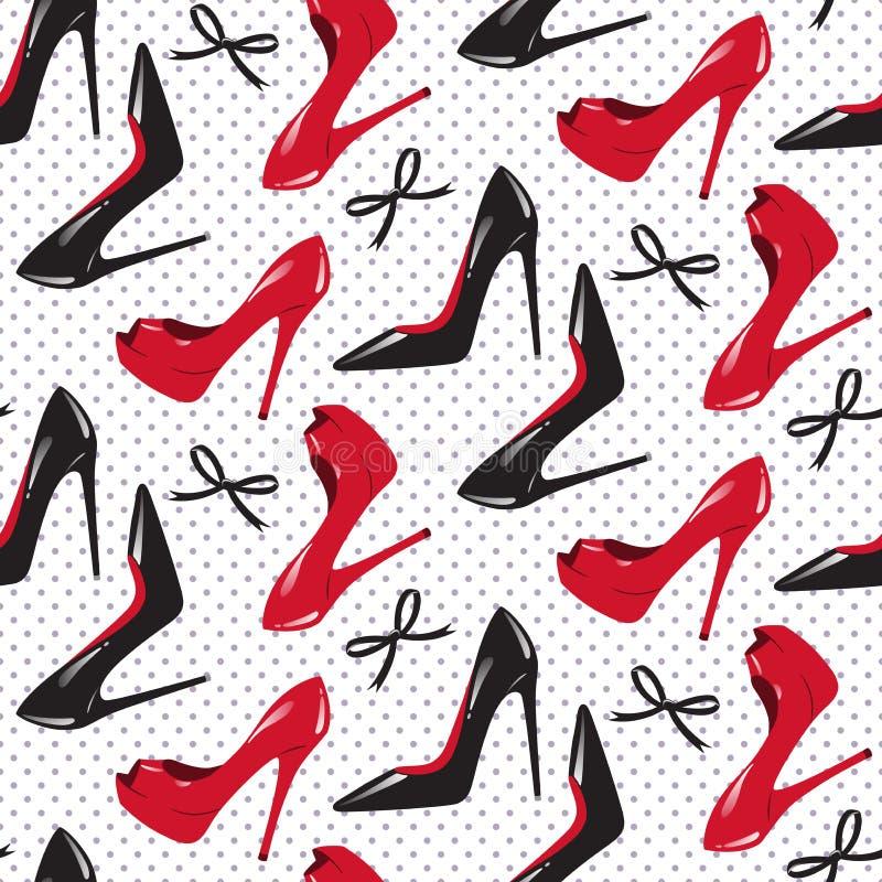 Άνευ ραφής σχεδίων διανυσματική απεικόνιση παπουτσιών σχεδίου κόκκινη και μαύρη στιλπνή υψηλή βαλμένη τακούνια ελεύθερη απεικόνιση δικαιώματος