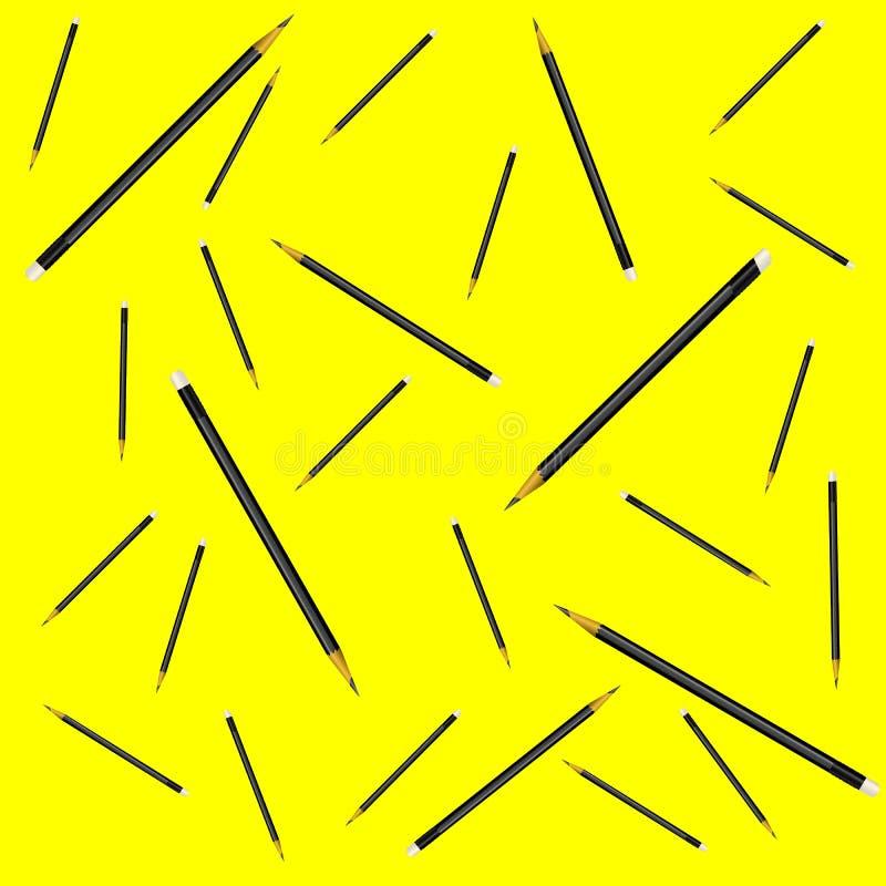 Άνευ ραφής σχεδίων διανυσματική απεικόνιση υποβάθρου μολυβιών κίτρινη απεικόνιση αποθεμάτων
