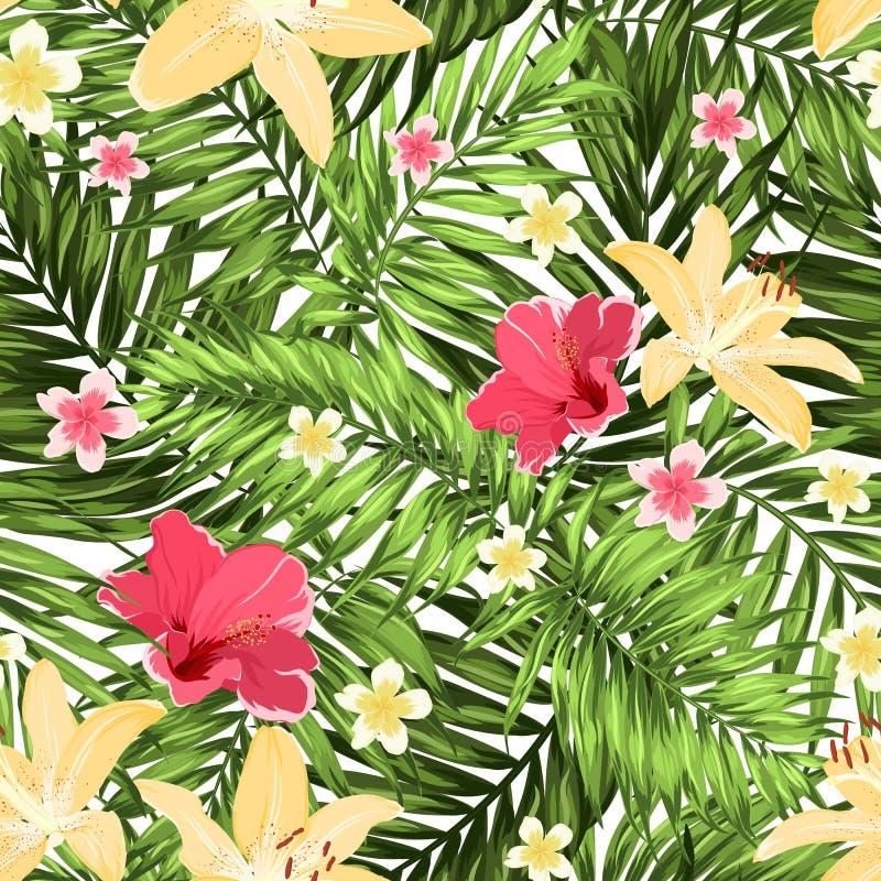 Άνευ ραφής σχεδίων λουλούδια φύλλων πρασινάδων τροπικά απεικόνιση αποθεμάτων