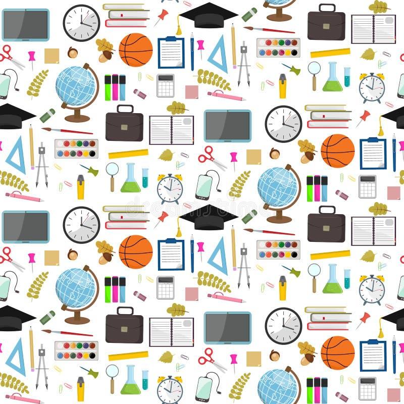Άνευ ραφής σχολικό σχέδιο σε ένα άσπρο υπόβαθρο Διανυσματικό απόθεμα απεικόνιση αποθεμάτων
