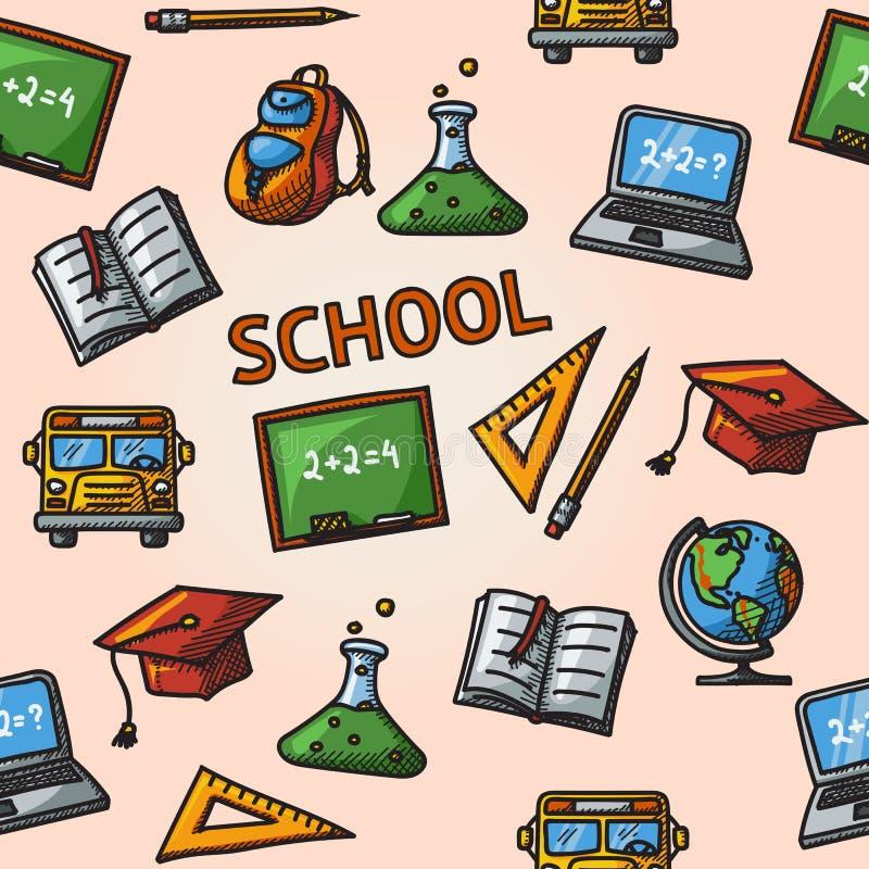 Άνευ ραφής σχολικό handdrawn σχέδιο απεικόνιση αποθεμάτων