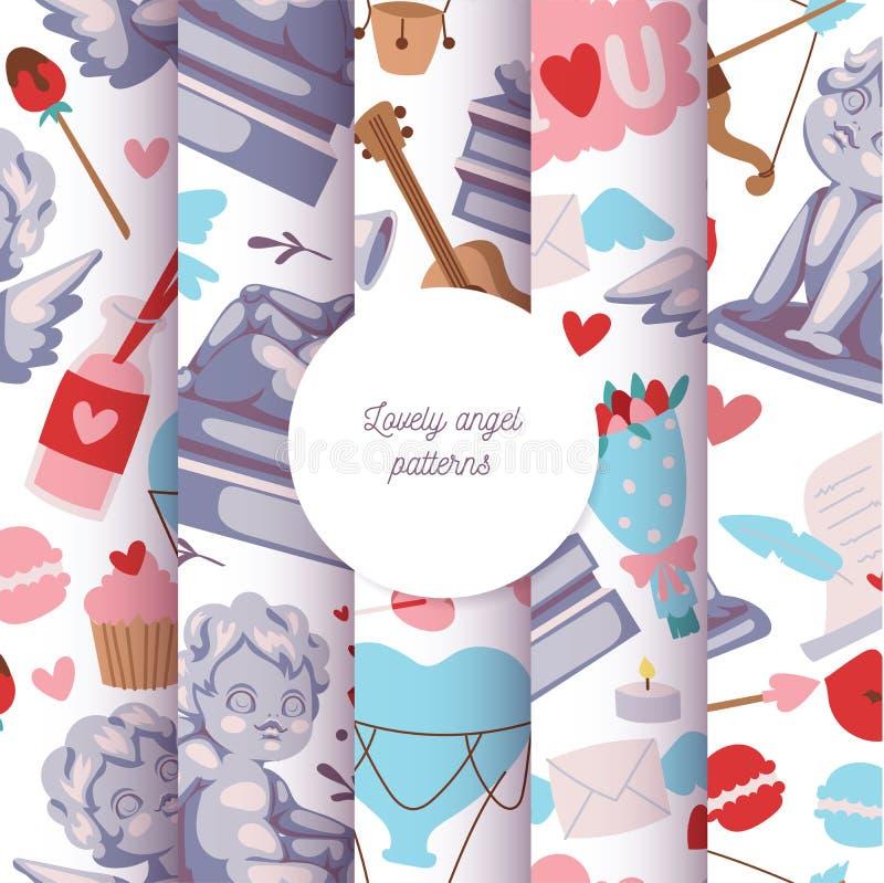Άνευ ραφής σύνολο απεικόνισης σχεδίων αγαλμάτων Cupid Καλά γλυπτά αγγέλου με τα λουλούδια, μουσικά όργανα, γλυκά ελεύθερη απεικόνιση δικαιώματος