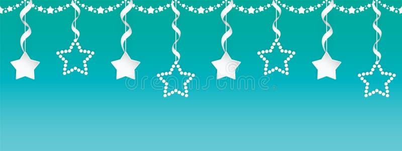 Άνευ ραφής σύνολο γιρλαντών τέχνης εγγράφου αστεριών με τις ασημένιες κορδέλλες στο ζωηρόχρωμο υπόβαθρο κλίσης ελεύθερη απεικόνιση δικαιώματος