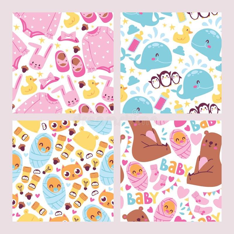 Άνευ ραφής σύνολο σχεδίων ντους μωρών Χαριτωμένη διανυσματική απεικόνιση παιδιών Αυτό s ένα κορίτσι, αυτό s ένα αγόρι Εορτασμός τ απεικόνιση αποθεμάτων