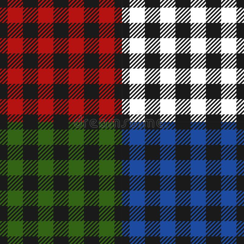 Άνευ ραφής σύνολο φανέλας σχεδίων καρό υλοτόμων, εναλλασσόμενο ζωηρόχρωμο ελεγμένο υπόβαθρο τετραγώνων Σκωτσέζικο κλουβί διάνυσμα ελεύθερη απεικόνιση δικαιώματος