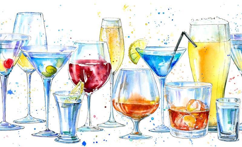 Άνευ ραφής σύνορα ενός shampagne, martini, ενός ουίσκυ, μιας βότκας, ενός κρασιού, ενός ποτού, μιας μπύρας, ενός κονιάκ και ενός  απεικόνιση αποθεμάτων