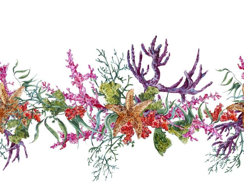 Άνευ ραφής σύνορα ζωής θάλασσας θερινού εκλεκτής ποιότητας Watercolor απεικόνιση αποθεμάτων