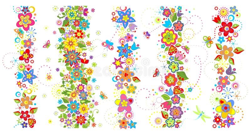 Άνευ ραφής σύνορα με τα αστεία ζωηρόχρωμα λουλούδια στοκ εικόνες με δικαίωμα ελεύθερης χρήσης