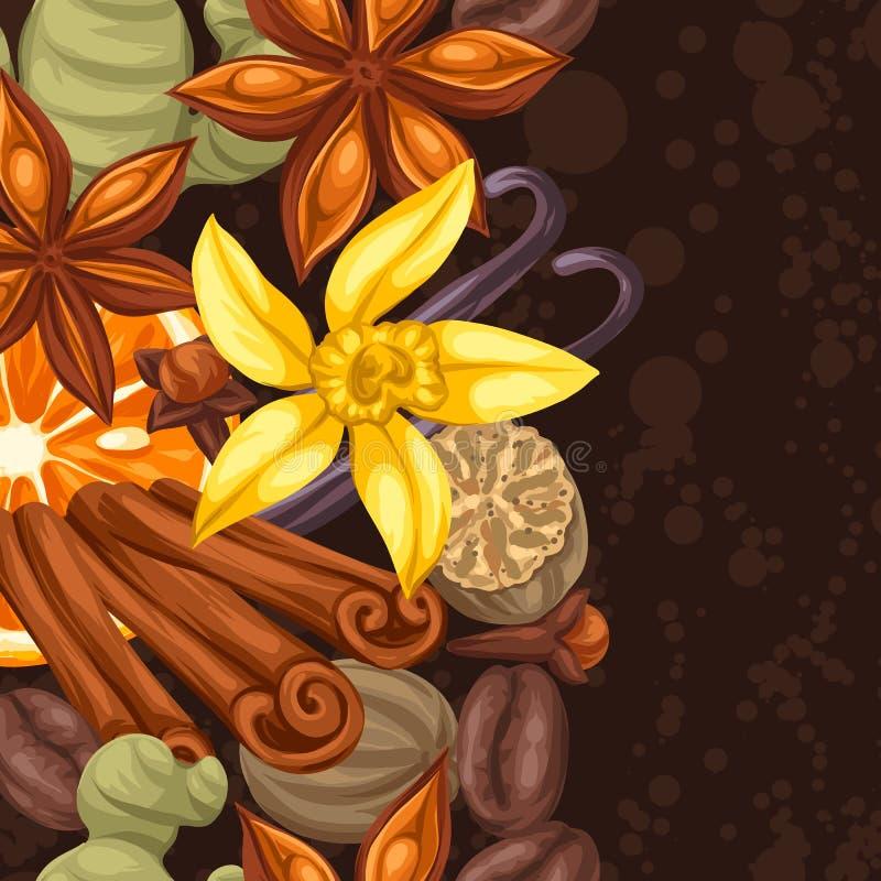 Άνευ ραφής σύνορα με τα διάφορα καρυκεύματα Απεικόνιση του γλυκάνισου, των γαρίφαλων, της βανίλιας, της πιπερόριζας και της κανέλ διανυσματική απεικόνιση