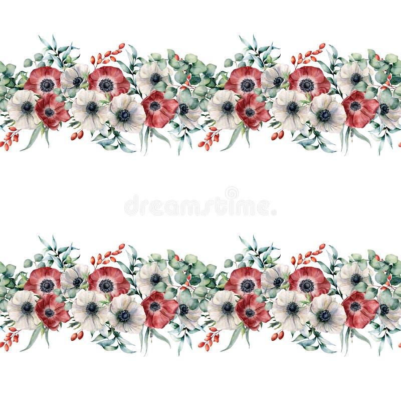 Άνευ ραφής σύνορα Watercolor με τα κόκκινα και άσπρα anemones Χρωματισμένα χέρι λουλούδια με τα φύλλα και τους κλάδους ευκαλύπτων ελεύθερη απεικόνιση δικαιώματος