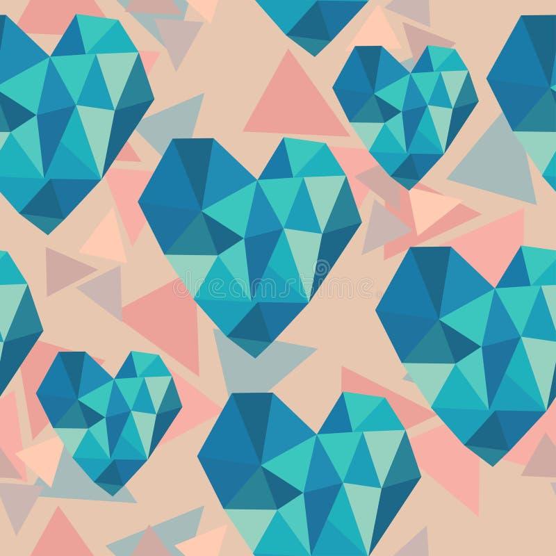 Άνευ ραφής σύσταση βαλεντίνων με τις γεωμετρικές καρδιές διανυσματική απεικόνιση