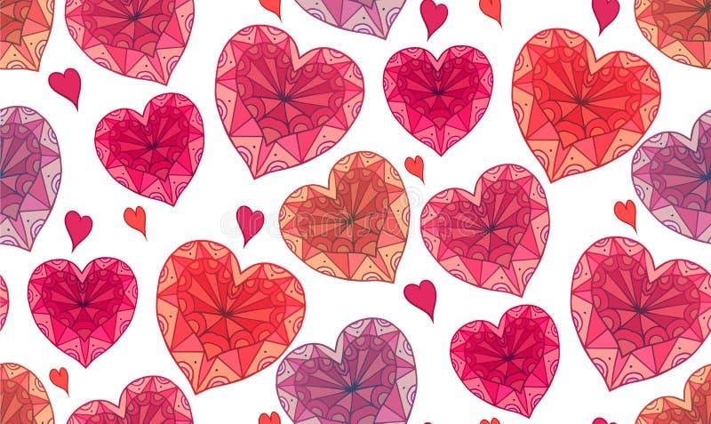 Άνευ ραφής σύσταση με διακοσμημένα σχέδια boho doodle τα καρδιές διανυσματική απεικόνιση