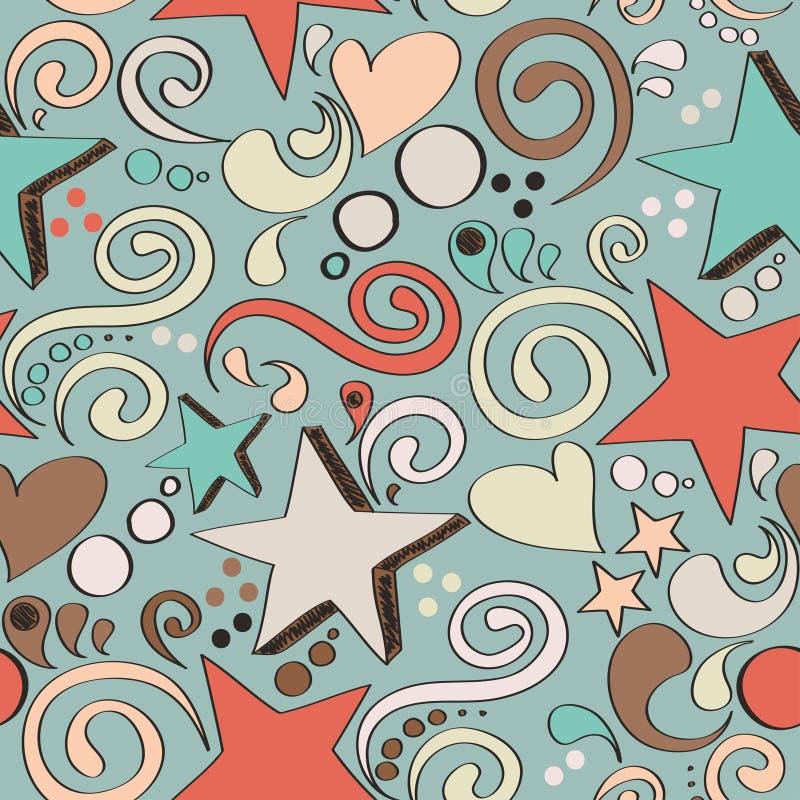 Άνευ ραφής σύσταση με συρμένες τα χέρι αστέρια, τις καρδιές και τους στροβίλους διανυσματική απεικόνιση